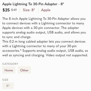Apple Other - Apple Lightning To 30-Pin Adapter - 8""